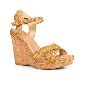 BNWOT Stuart Weitzman Minx Woven Wedge Sandal
